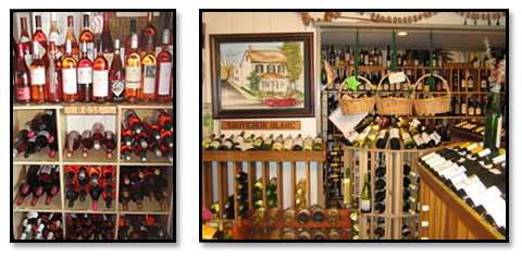 Wines on display.